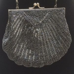 Vintage Pewter Beaded Evening Bag Perfect!
